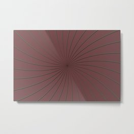 3D Pantone Red Pear and Gray Thin Striped Circle Pinwheel Metal Print