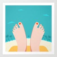 Feet on Beach Art Print