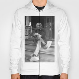 Albert Einstein in Fuzzy Slippers Classic Black and White Satirical Photography - Photographs Hoody