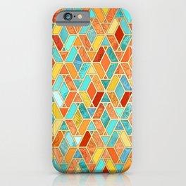 Tangerine & Turquoise Geometric Tile Pattern iPhone Case