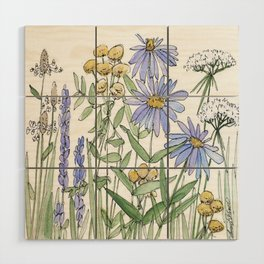 Asters and Wild Flowers Botanical Nature Floral Wood Wall Art