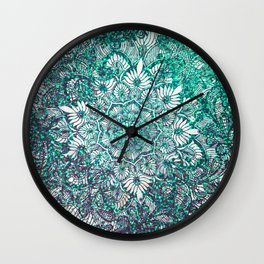Teal Faux Glitter and Lace Ornamental Floral Mandala Wall Clock