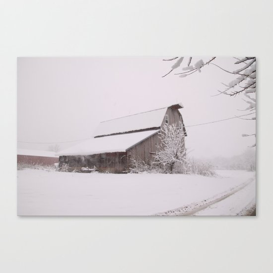Snowy Barn Canvas Print