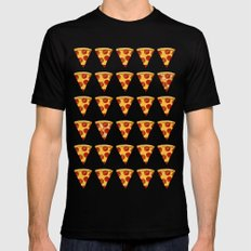 PIZZA LARGE Black Mens Fitted Tee