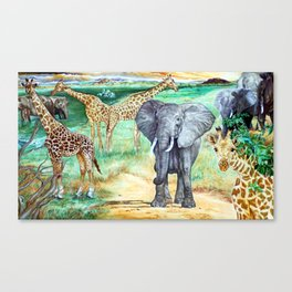 African Water Hole Canvas Print