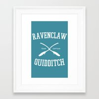 quidditch Framed Art Prints featuring Hogwarts Quidditch Team: Ravenclaw by IA Apparel