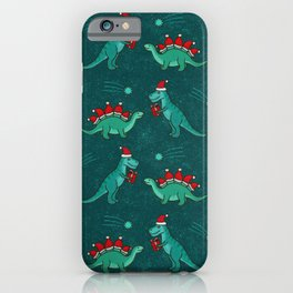 Cute Christmas Dinosaurs with Gift, Santa's Hats and Falling Stars, Teal Green Colors iPhone Case