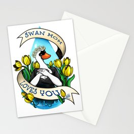 Swan Mom Loves You Stationery Cards