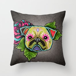 Pug in Fawn - Day of the Dead Sugar Skull Dog Throw Pillow