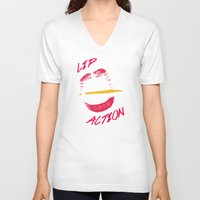 lip V-neck T-shirts featuring Lip Action by Kidney Theft