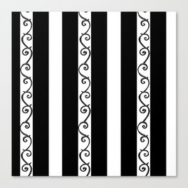 Stripes and Thorny Vines by Dark Decors - Black and Whites Canvas Print