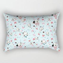 Dalmatian Floral Light Blue Rectangular Pillow