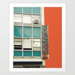 New York Coffee Shop on Orange Art Print