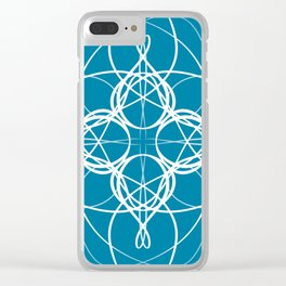 Blue White Swirl Clear iPhone Case