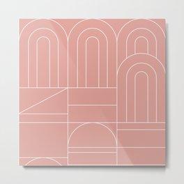 Deco Geometric 04 Pink Metal Print