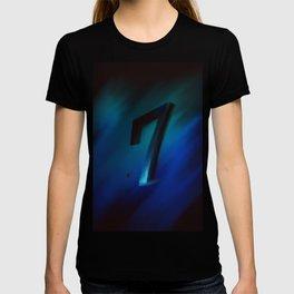 Number seven in Blue, Black, Design T-shirt
