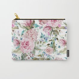 Country chic blush pink teal lavender watercolor floral Carry-All Pouch