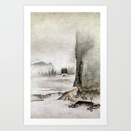 Kantei Two Views from the Eight Views of the Xiao and Xiang Rivers Art Print