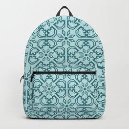 Vintage Mediterranean tiles pattern cobalt blue Backpack