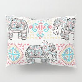 Elephant Parade,  Boho Pattern Pillow Sham