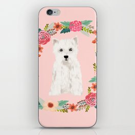 Westie floral wreath dog breed pure breed pet portrait iPhone Skin