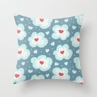 Winter Hearts And Snowy Clouds Throw Pillow