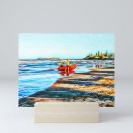 Surf Rescue on beautiful beach Mini Art Print