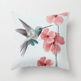 Hummingbird with Hibiscus Throw Pillow