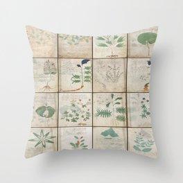 The Voynich Manuscript Quire 1 - Natural Throw Pillow
