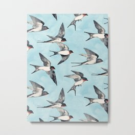 Blue Sky Swallow Flight Metal Print