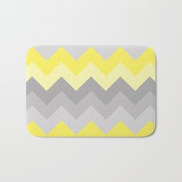 Yellow Grey Gray Ombre Chevron Bath Mat