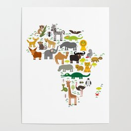 map of Africa: parrot Hyena Rhinoceros Zebra Hippopotamus Crocodile Turtle Elephant Mamba snake Poster