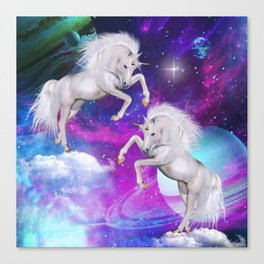 space unicorns v Canvas Print