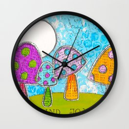 Mushroom Mixed Media Painting in Dyan Reaveley Style with Bright and Vibrant Colors Wall Clock