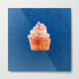 Cupcake Love - Strawberry Pearls on Blue Sparkle Metal Print