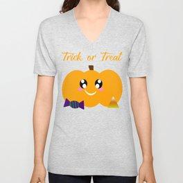 Trick or Treat Pumpkin Unisex V-Neck