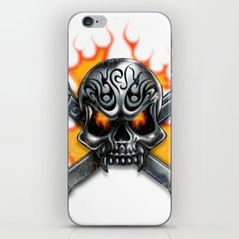 Flaming Skull and Wrenches iPhone Skin