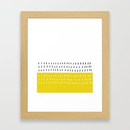 Black & white rain on yellow Framed Art Print