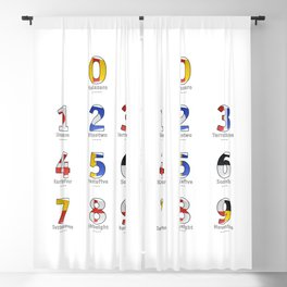 Navy Alphabet Numbers - Leather Blackout Curtain