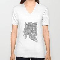 beast V-neck T-shirts featuring Beast by Olya Goloveshkina