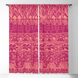 Mountain Tapestry in Sunset Pink Blackout Curtain