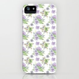 Succulents Pattern Purple and Green iPhone Case