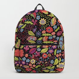 Happy Floral Black Backpack