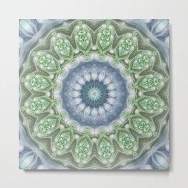 Slate Blue and Green Mandala Metal Print