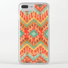itzel - orange + green Clear iPhone Case