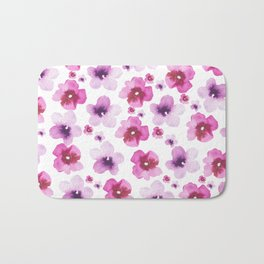 Hand painted blush pink lavender watercolor floral Bath Mat