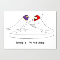wrestling Canvas Prints featuring BUDGIE WRESTLING by LowHumour.com
