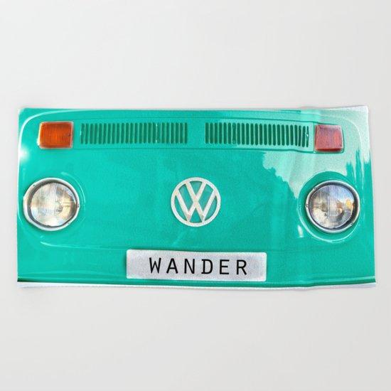 Wander wolkswagen. Summer dreams. Green Beach Towel
