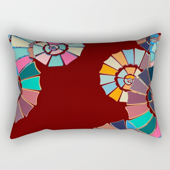 Spiral Symphony-Maroon Rectangular Pillow
