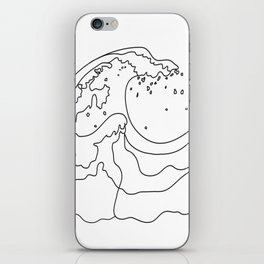 Minimal Line Art Ocean Waves iPhone Skin